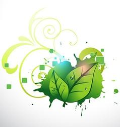 Stylish green leaf design vector