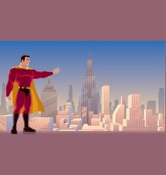Superhero power in city vector