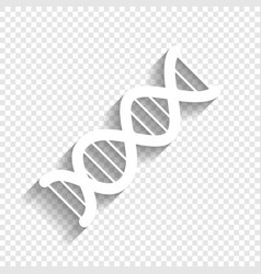 The dna sign white icon with soft shadow vector