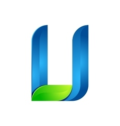 U letter leaves eco logo volume icon vector image