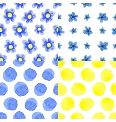 Watercolor blue flowers polka dot seamless vector