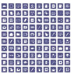 100 folder icons set grunge sapphire vector