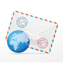 Detailed envelope and globe vector
