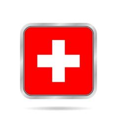 Flag of Switzerland Metallic gray square button vector image