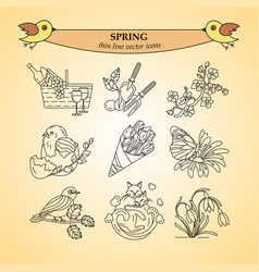 spring thin line icons vector image