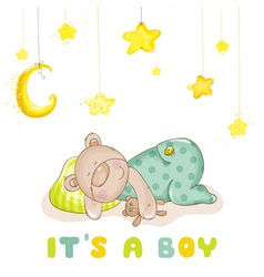 Baby arrival card - sleeping baby bear and stars vector