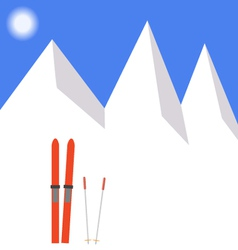 Winter landscape skiing in the snow vector