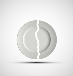 image of a broken white plate vector image