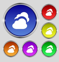 Cloud icon sign round symbol on bright colourful vector