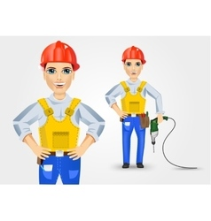 Electrician holding electric drill down vector