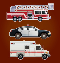 Collection of emergency cars vector