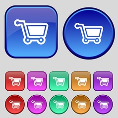 Shopping cart icon sign a set of twelve vintage vector