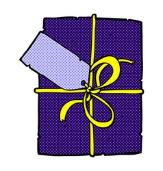 Comic cartoon wrapped present vector