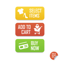 Add to cart buy now select items e-commerce vector