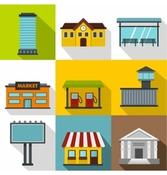 Building icons set flat style vector