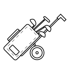 Cart for golf clubs icon outline style vector image