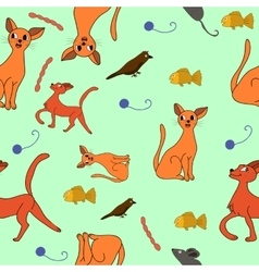 cat kit pattern drawing kids vector image