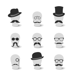 Collection of vintage mustaches hats and glasses vector
