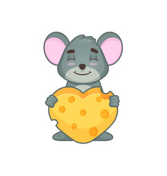 Cute mouse with hearth vector