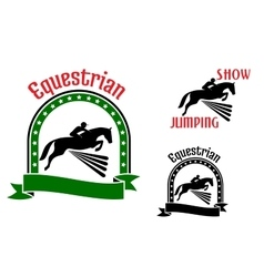 Equestrian sport symbols with jumping horses vector image
