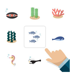 flat icon nature set of seaweed alga tuna and vector image