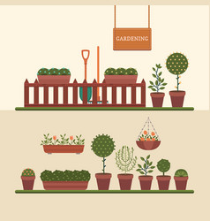 Gardening and growing plants vector