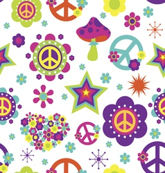 Hippie style psychedelic elements seamless pattern vector image