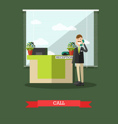 hotel reception in flat style vector image vector image