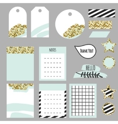 Journaling planner card notes and tags vector