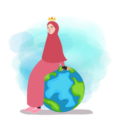 muslim woman empowered sitting on globe world map vector image vector image