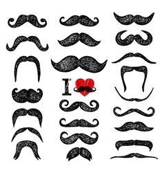 Mustaches set design elements hand drawn set vector