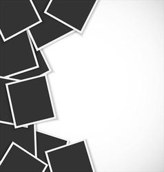 Pile of photo frames on white background vector image vector image