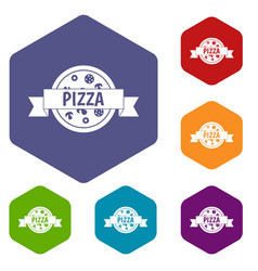 Pizza label with ribbon icons set hexagon vector