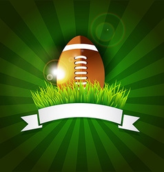 Rugby football American ball in grass with banner vector image vector image