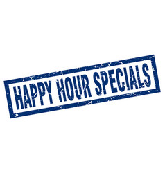 Square grunge blue happy hour specials stamp vector