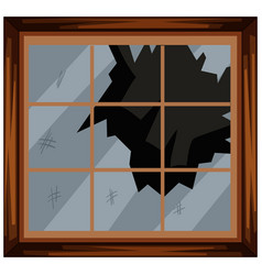 Square window with broken glass vector