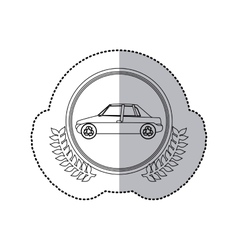 Sticker monochrome half shadow and car in round vector