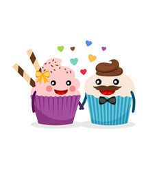 sweet cupcakes holding hands vector image vector image