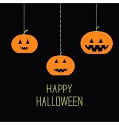 Three hanging pumpkin halloween card for kids vector
