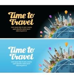 Travel to world landmarks on the globe journey vector