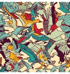 Wild nature birds color seamless pattern vector image vector image