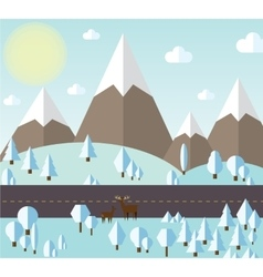 Winter forest and mountains vector