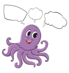 A violet octopus thinking vector image