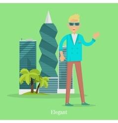 Elegant man near skyscrapers in tropical country vector