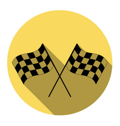 Crossed checkered flags logo waving in the wind vector