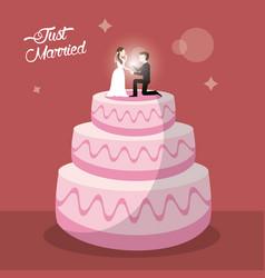 just married cake dessert vector image
