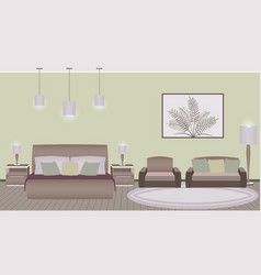 Classic style hotel bedroom interior with vector