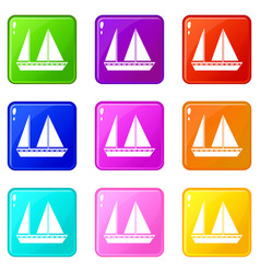 Sailing boat icons 9 set vector