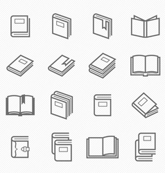 Book outline stroke symbol vector