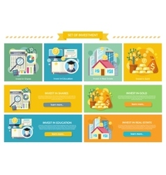 Set Concept Investment Flat Style vector image